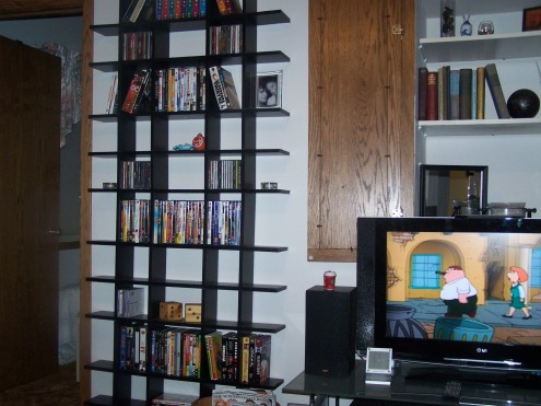 The other side of the TV.  We love our movie display.  Again, I love anything with cubbies, so this was perfect for me!