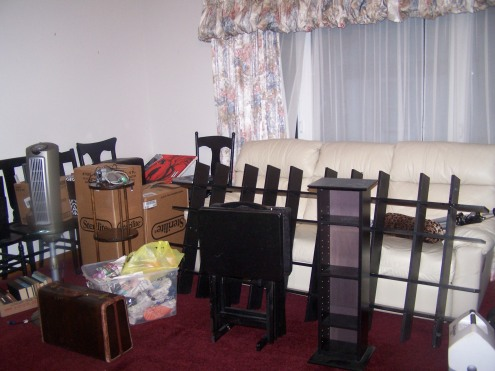 This is the before of our living room and boxes. And the UGLY curtains!