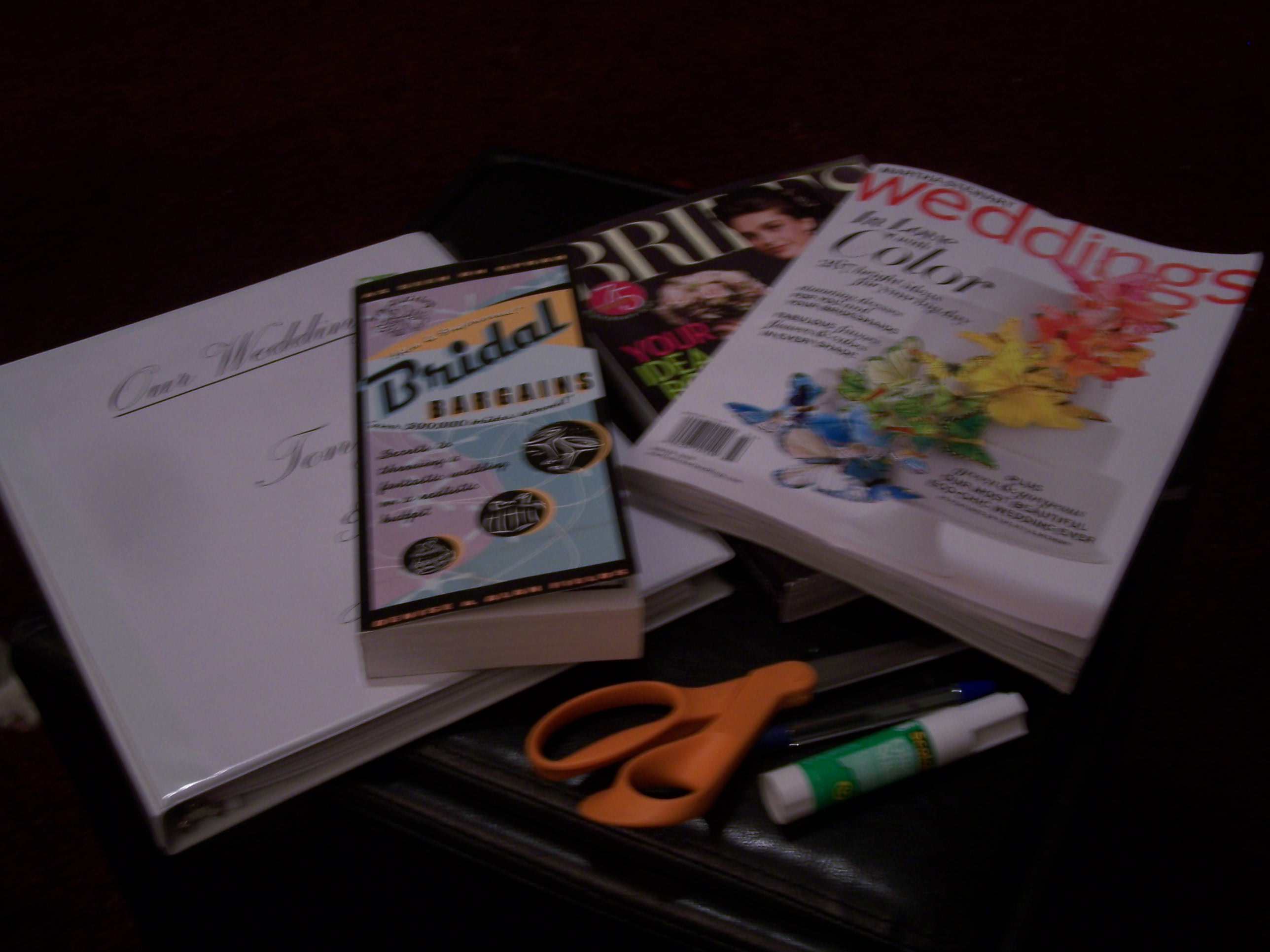 All of my materials, magazines, and books spread out on the floor to work!