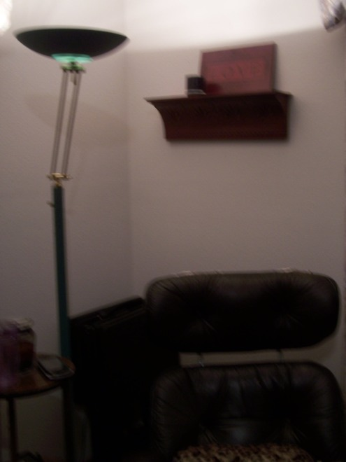 I know its dark, but this is the shelf hung in the corner of the living room behind the Eames lounger.