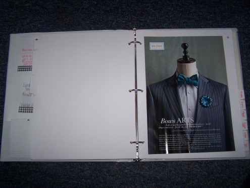 One of the images in the planner.  I simply love this suit, the vintage pinstripes, and the bow tie!  It is even in our colors.  The boutonierre can be made with Martha Stewart's help.  We might be reproducing the whole picture!
