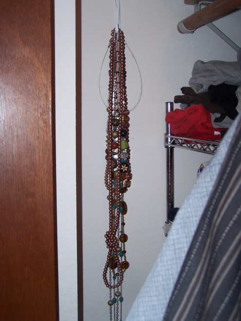 This is the hook of necklaces that I hung along a side wall of the closet.  This is so helpful!