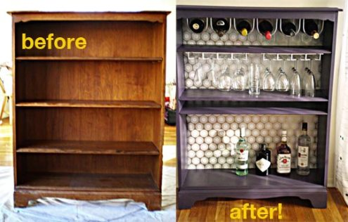 http://www.apartmenttherapy.com/la/february-jumpstart-2009/how-to-turn-a-bookcase-into-a-bar-075567