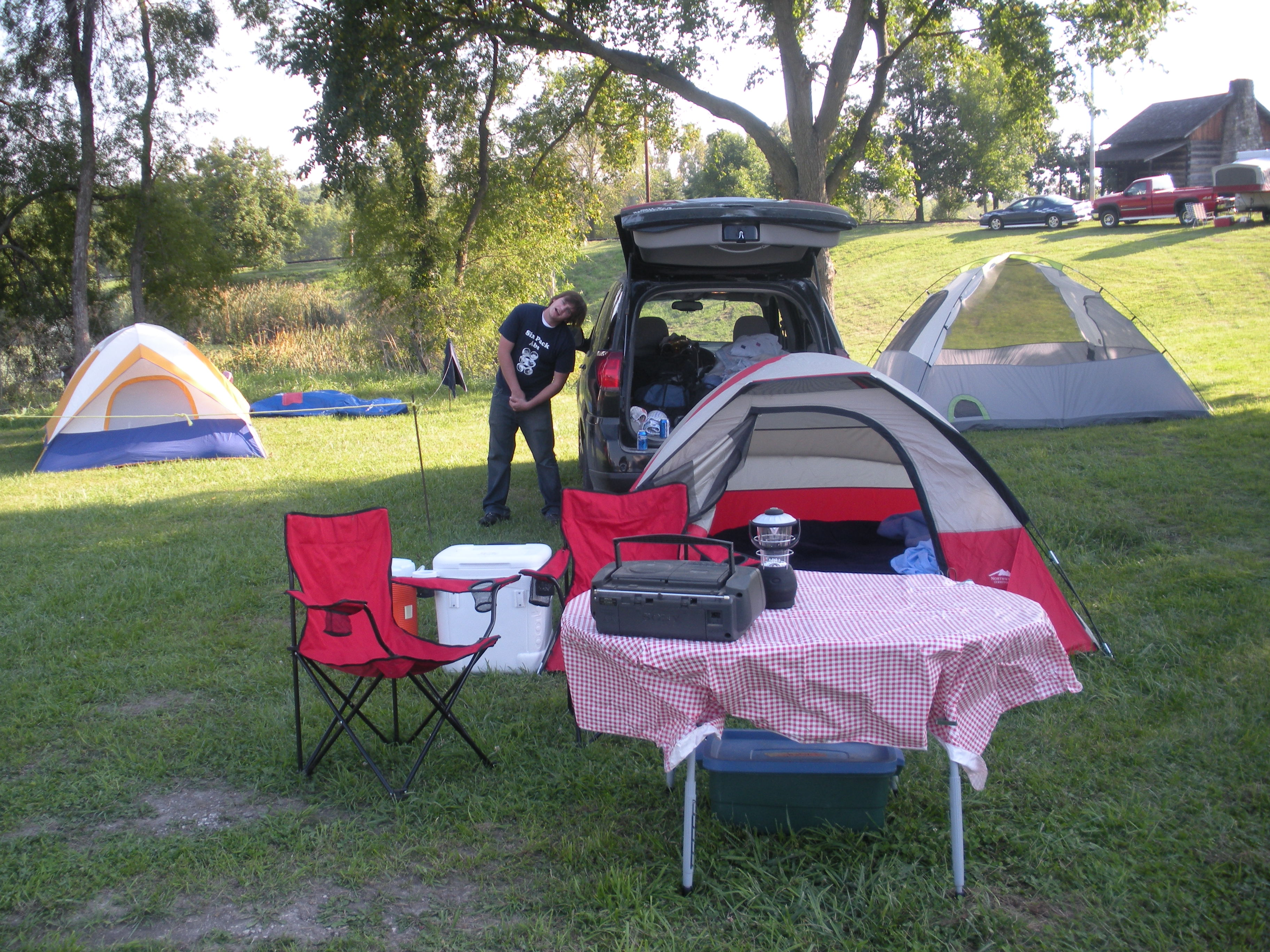 Our little campsite.  See the log cabin in the background?